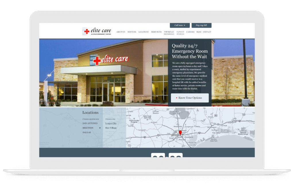 elite care medical website design