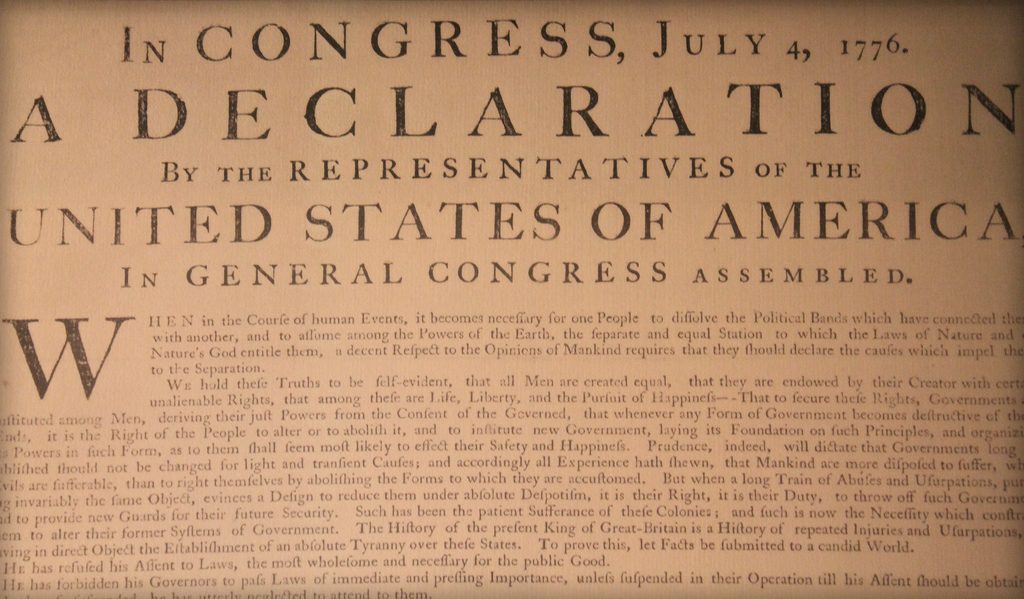Caslon Typeface Declaration of Independence
