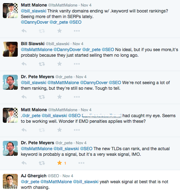 Image of Twitter conversation about TLDs and SEO