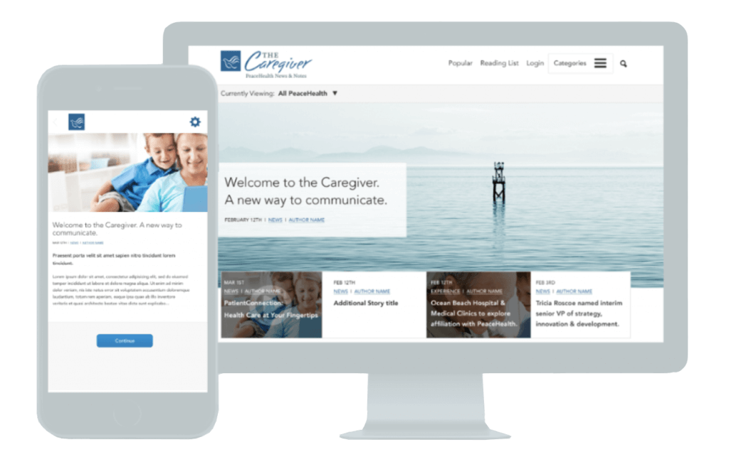 medical web design for peacehealth