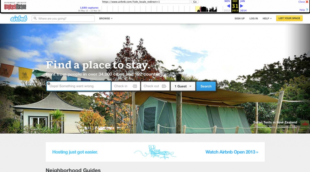 Airbnb 2013 Homepage Screenshot