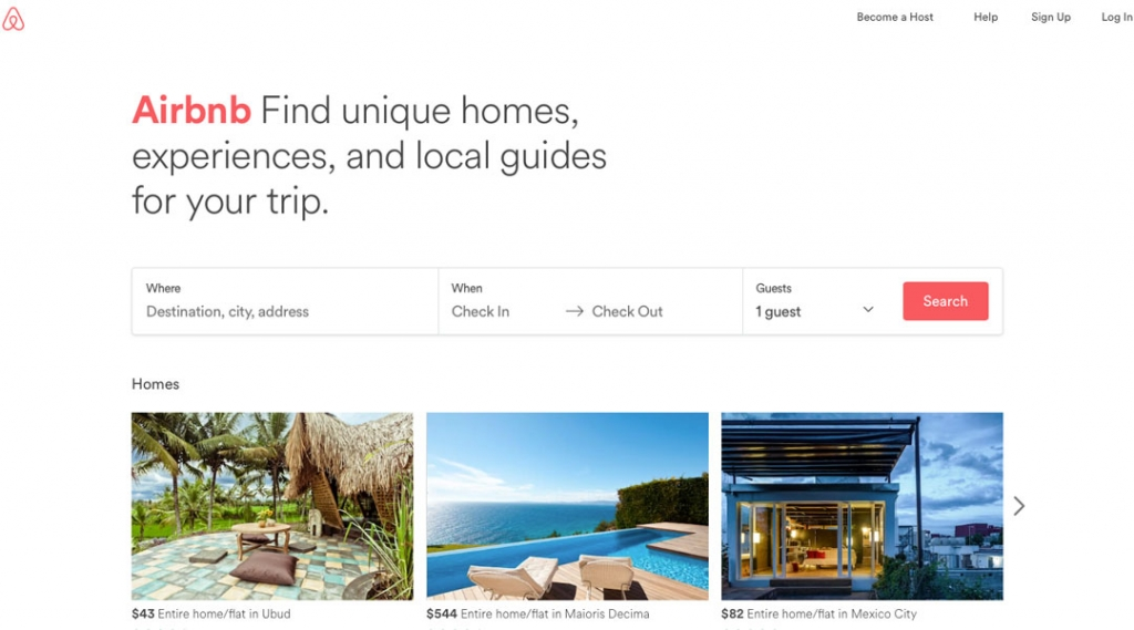 Airbnb Homepage Screenshot 2017