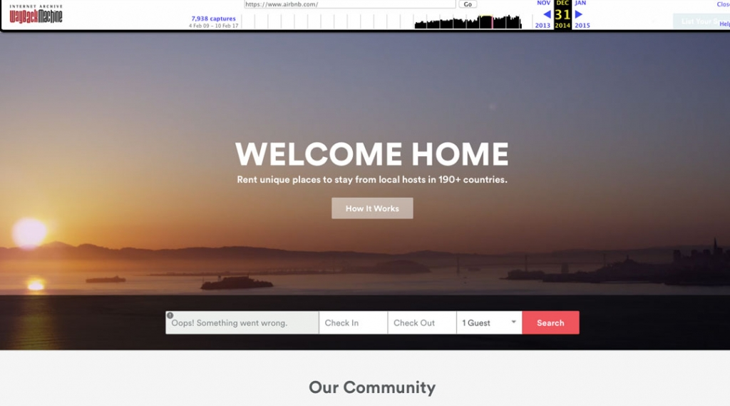 Airbnb Homepage Screenshot 2014 - 2015
