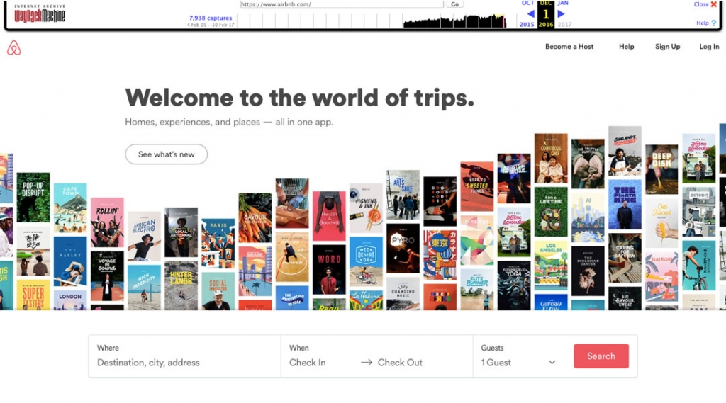 Airbnb Homepage screenshot 2016