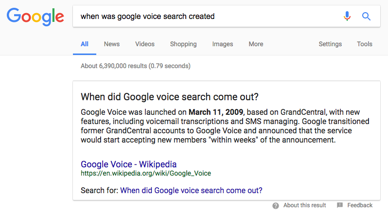 when voice search was created