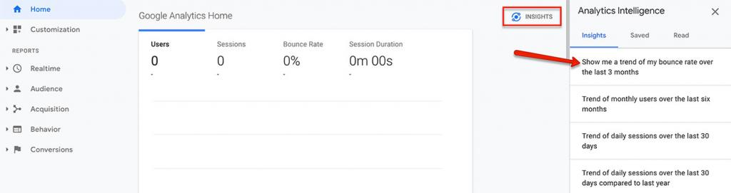 Viewing bounce rate in Google Analytics via Insights