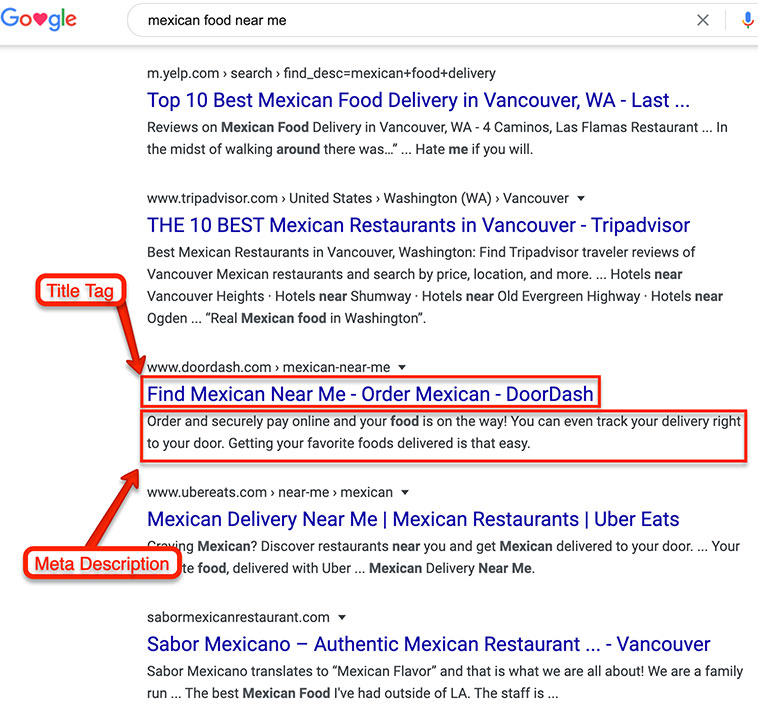 Local Search Title Tag and Meta Description