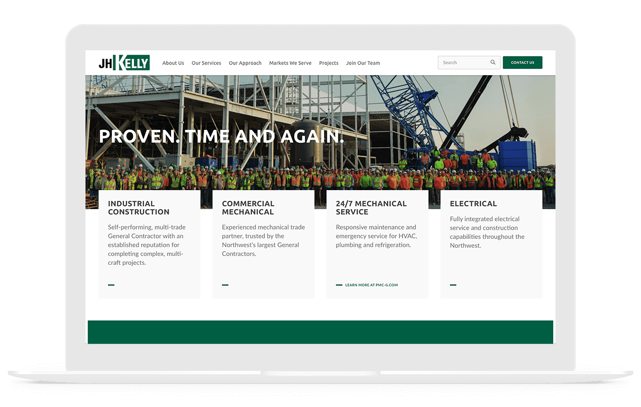 JH Kelly construction web design