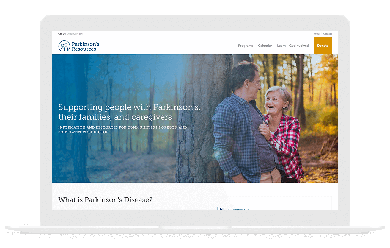Parkinson's Resources Nonprofit Web Design
