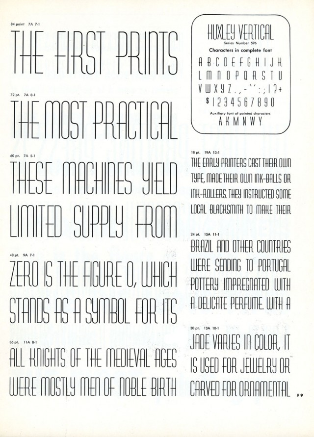Typeface Huxley Vertical example