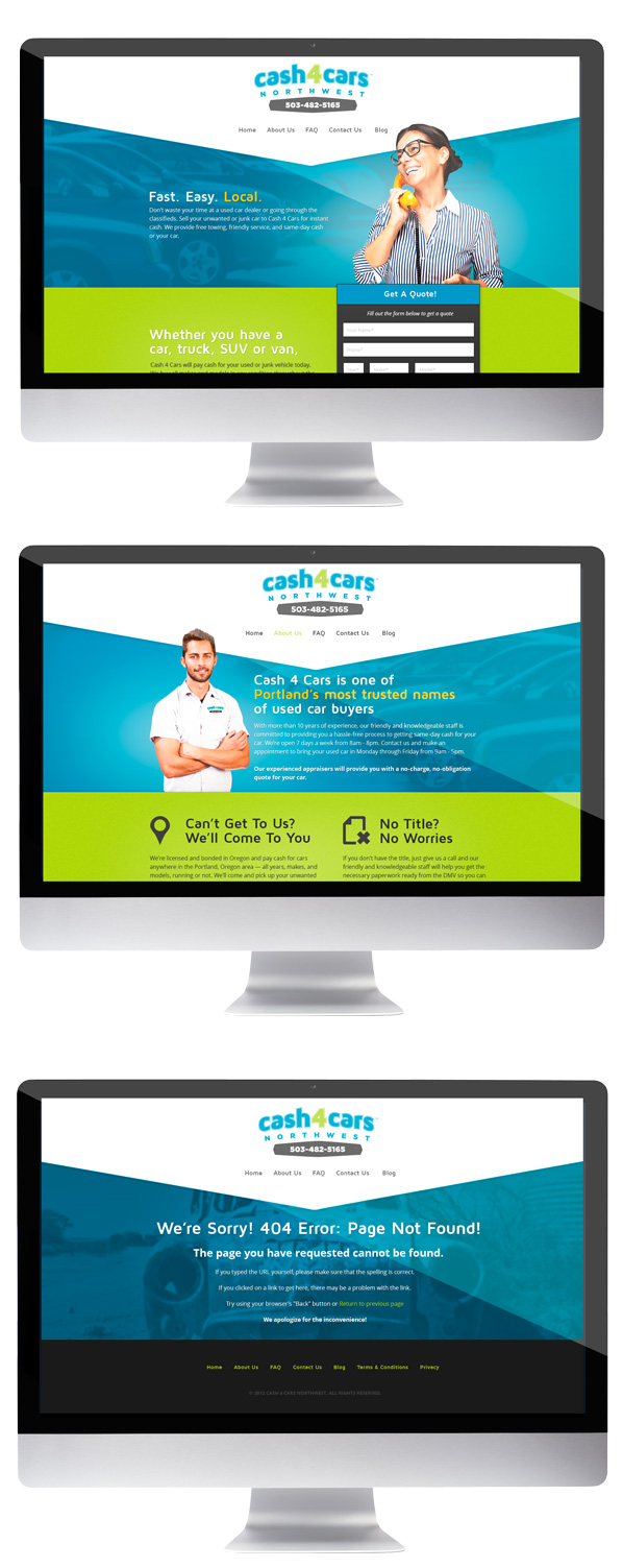 cash for cars portland web design