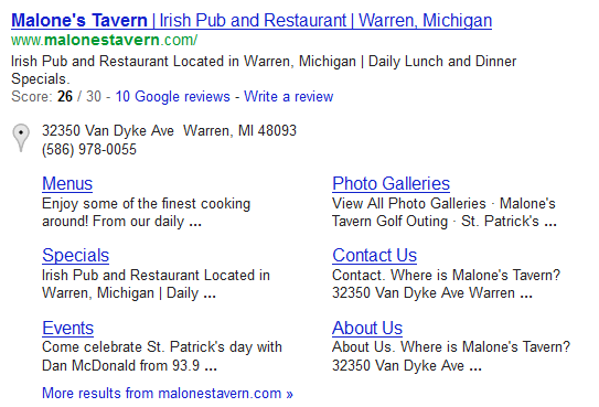 Rich snippets in local search